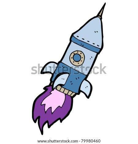 retro space rocket cartoon