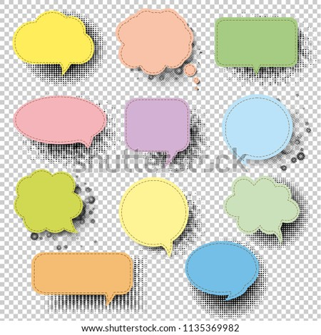 Retro Speech Bubble With Transparent Background With Gradient Mesh, Vector Illustration