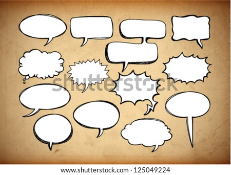 Retro speech bubbles on the grungy background. Vector Illustration.