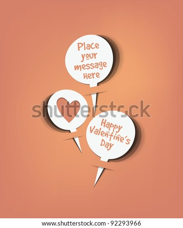 Retro speech bubbles set with valentine message vector
