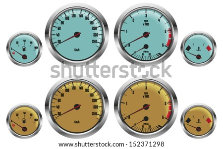 retro sport car gauges in two colors