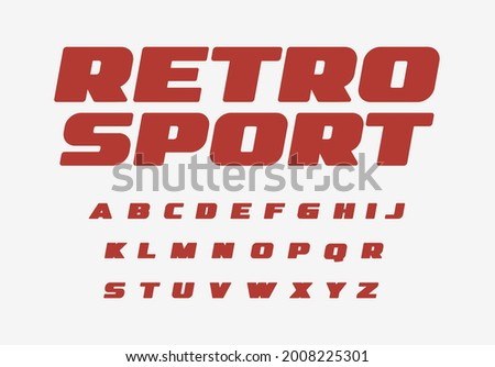 Retro sport font thick alphabet fat letters. Wide bold letter set for vintage car, retro speed race, auto repair shop headline title logo. Big ad type for magazine, shirts lettering. Vector typeset Foto stock ©
