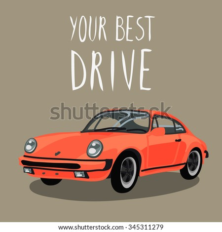 Retro sport red car isolated. Vector illustration