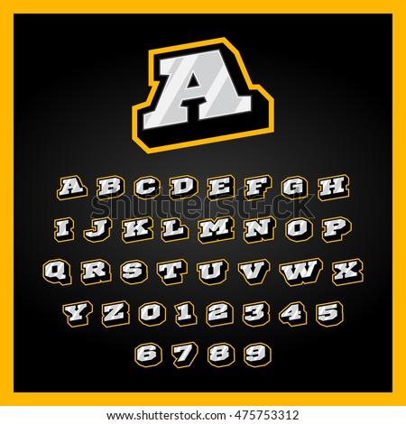 retro sport style alphabet a z