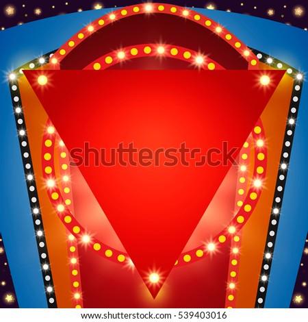 Retro stage shining banner background. Vector illustration