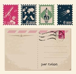 retro stamps and retro postcard