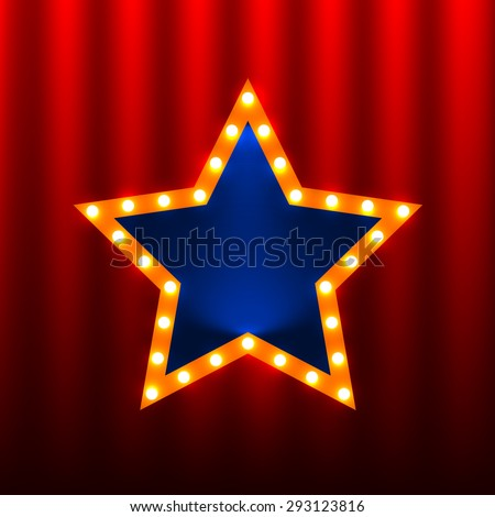retro star banners on the red curtain background #293123816