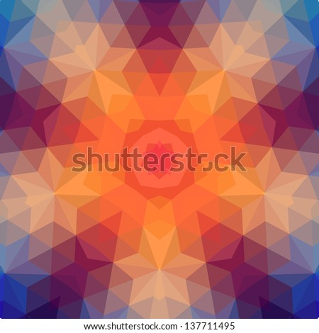 Retro  star vector backdrop of geometric shapes. Colorful mosaic banner. Geometric hipster retro background with place for your text. Retro triangle background