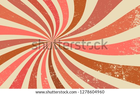 retro starburst or sunburst background vector pattern with a vintage color palette of brown pink and coral in a spiral or swirled radial striped design