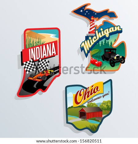 Retro state shape illustrations of Indiana, Michigan, Ohio