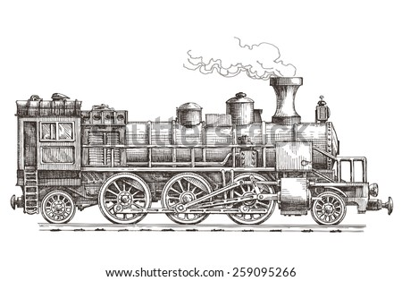 retro steam locomotive vector