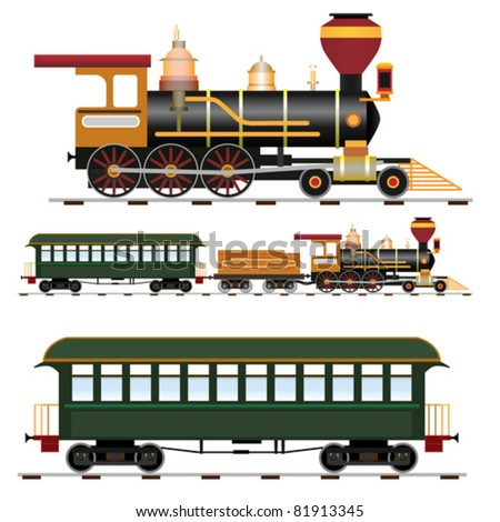 Retro steam train with coach (vector illustration isolated on white background)