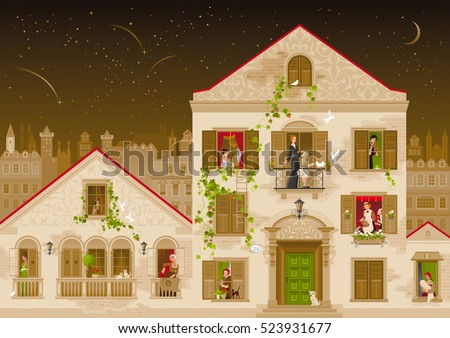 Retro stone house with people in windows, vector illustration. Vintage street architecture, victorian style building, poster template. Cute cartoon beautiful senior and young citizens, kids, adults