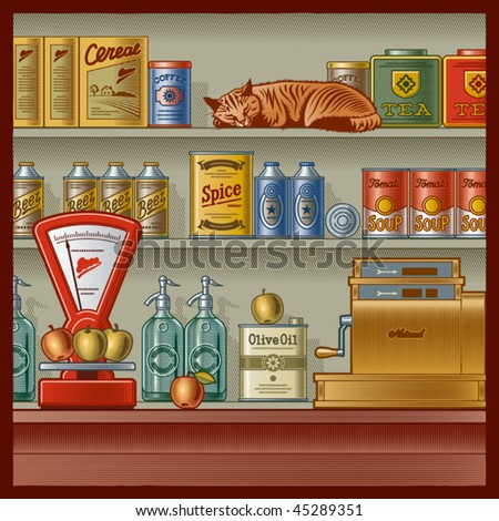 Retro store. Vector - stock vector