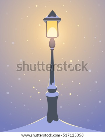 Retro street lamp covered with snow, cartoon vector illustration.
