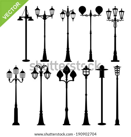 retro street lamps silhouettes...