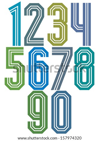 retro stripe geometric numbers