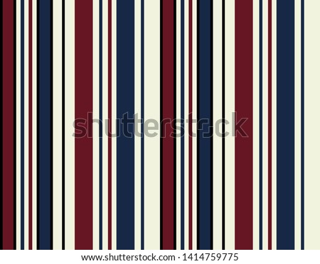 Retro Stripe seamless pattern with Red, Navy blue, Black and Beige colors vertical parallel stripes.Vector abstract background.