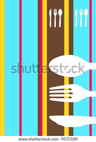 Retro striped food/restaurant/menu design with cutlery silhouette