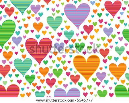 retro stripes candy hearts (vector)