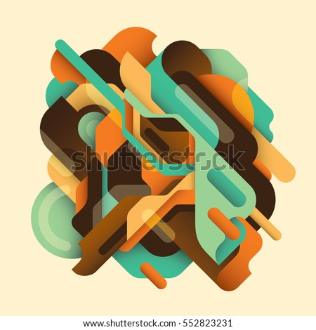 Retro style abstract composition in color, made of various geometric shapes and objects. Vector illustration.