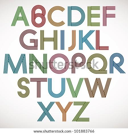 Retro style alphabet, striped letters vector typeface. Stok fotoğraf ©