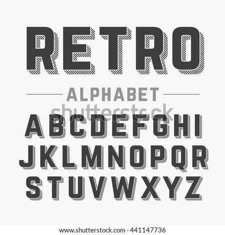 retro style alphabet vector...