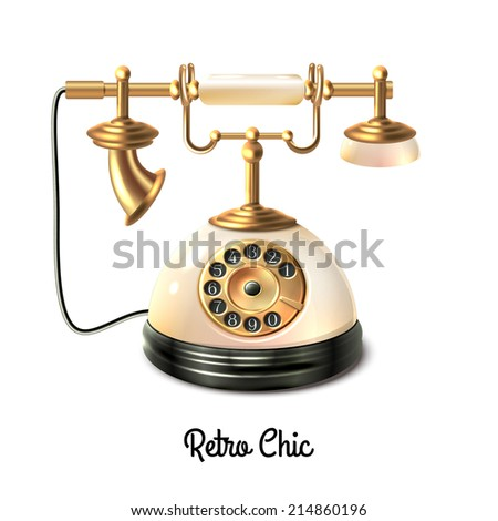retro style antique telephone with wire connection isolated on white Telephone Wire retro style antique telephone with wire connection isolated on white background vector illustration