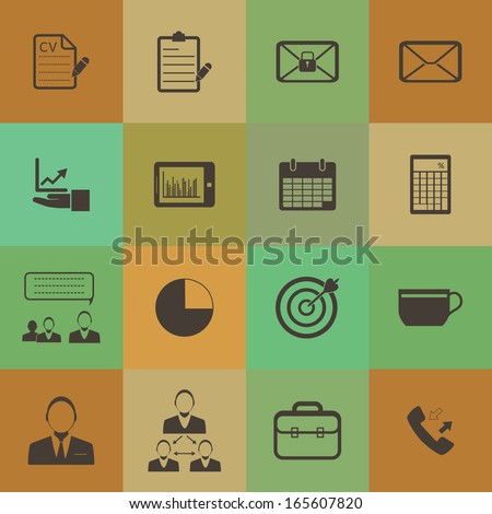 Retro style Business and office icons vector set.