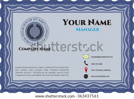 Retro Style Business card. Artistry design. With complex linear background. Detailed.