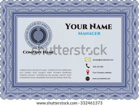 Retro Style Business card. Easy to print. Detailed.Beauty design.