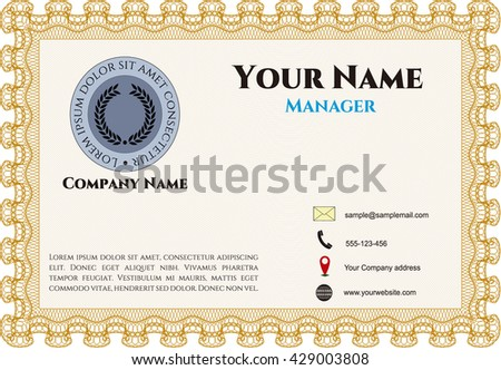 Retro Style Business card. Superior design. Border, frame. With quality background.