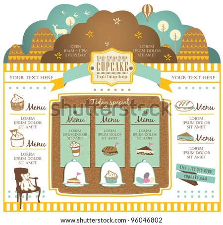 Retro style cafe elements - stock vector
