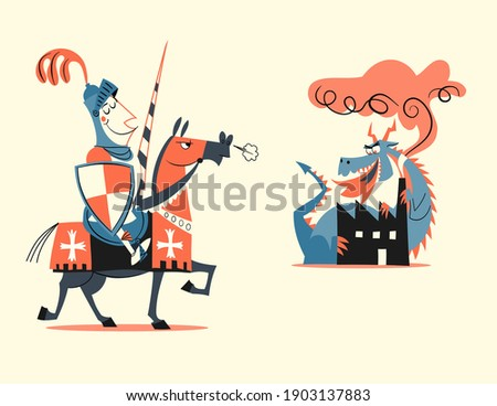 retro style cartoon vector illustration - medieval knight riding a horse and fighting a dragon near an industry Foto stock ©