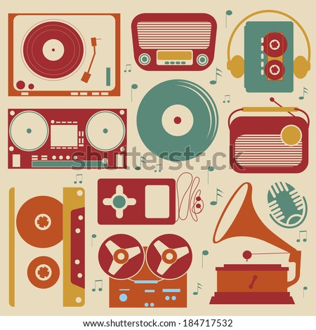 Retro style collection of musical related items
