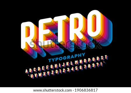 Retro style colorful font design, alphabet letters and numbers vector illustration