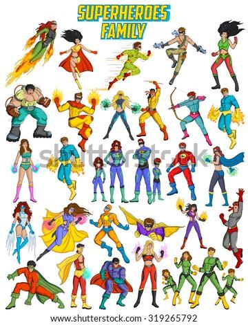 retro style comics superfamily