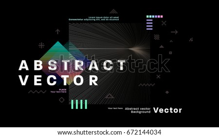 Retro style cover template. Futuristic, pixels and memphis patterns and elements for posters, placards, banners, flyers or brochures designs. Vector illustrations.