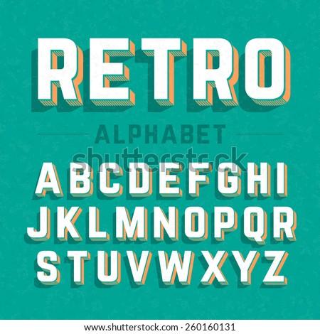 Retro style 3d alphabet. Vector.