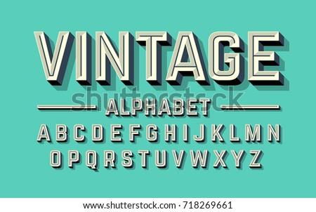 retro style 3d alphabet  vector ...
