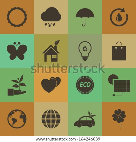 Retro style Eco icons vector set.