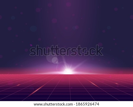 Retro style grid background eighties banner. Sun rising above grid plane. Purple and pink gradients glowing and sun flares. Futuristic tile and texture. Geometric grid horizon background. Stock photo ©