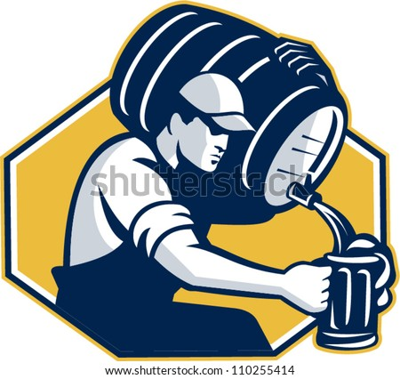 Retro style illustration of a bartender pouring keg barrel of beer into mug set inside hexagon on isolated white background.