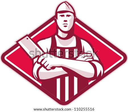 Retro style illustration of a butcher cutter worker with meat cleaver knife facing front set inside diamond on isolated background. - stock vector