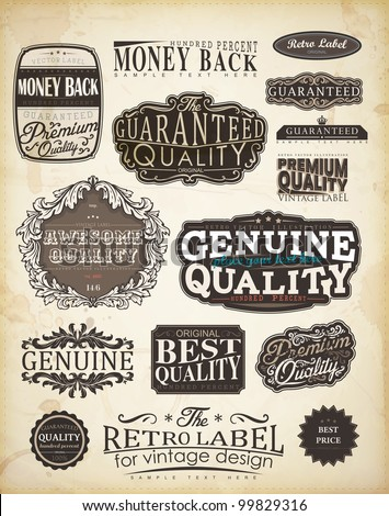 Retro style label collection for vintage design | Old paper texture background