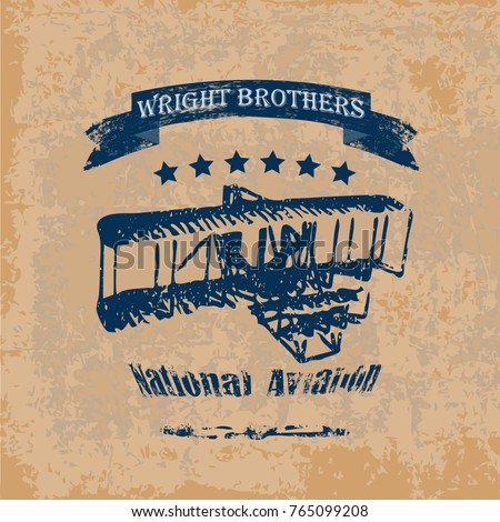retro style label with wright