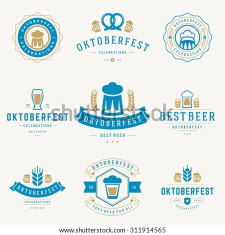 Retro style labels, badges and logos set Beer festival Oktoberfest celebrations text. Vector illustration.