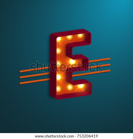 retro style letter e with
