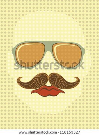 Retro style male face with sunglasses and mustache