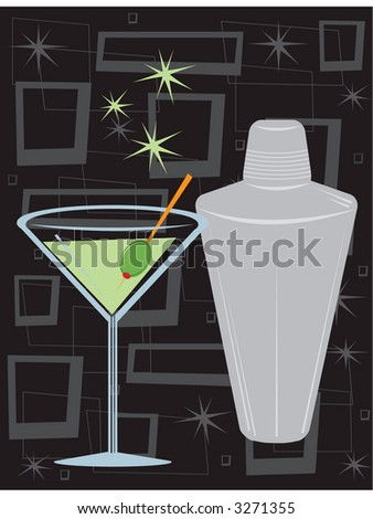 Retro style martini with shaker over groovy retro background. All elements can be used together or separately, fully editable vector illustration.